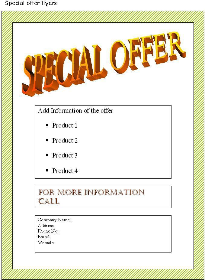 Special Offer Flyer Template | Sample Business Templates