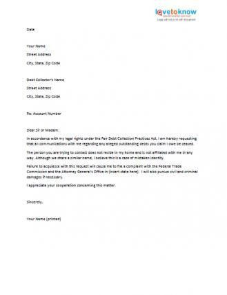 Sample Letters to Stop Collection Agencies