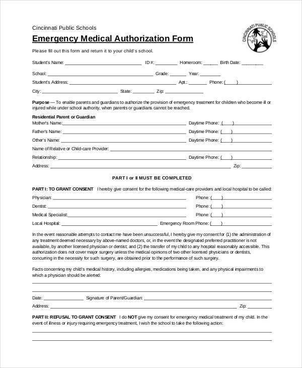 Free Medical Form. Free Child Medical Consent Form Free Consent ...