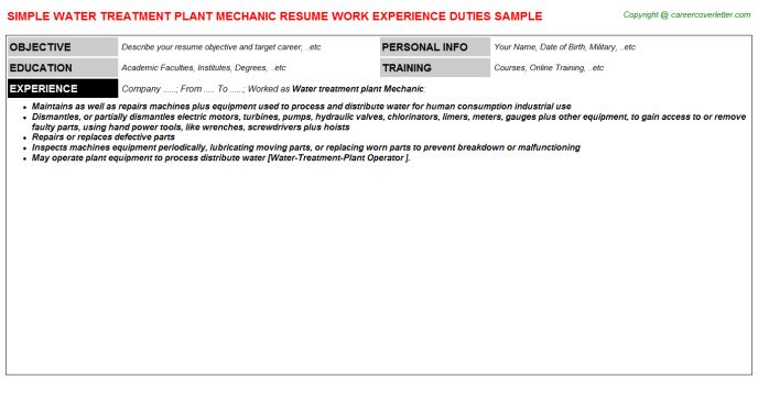Water Treatment Plant Mechanic Resume Sample