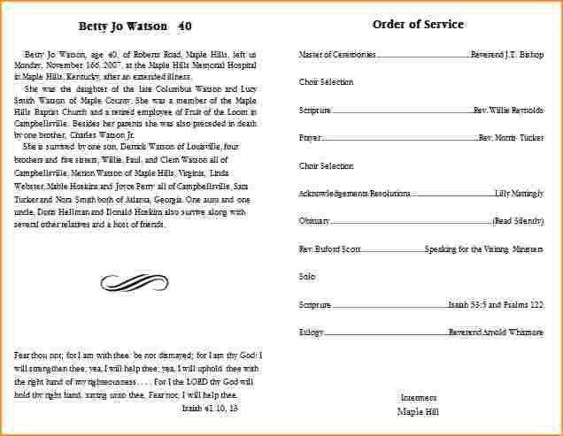 9+ funeral program template | Questionnaire Template