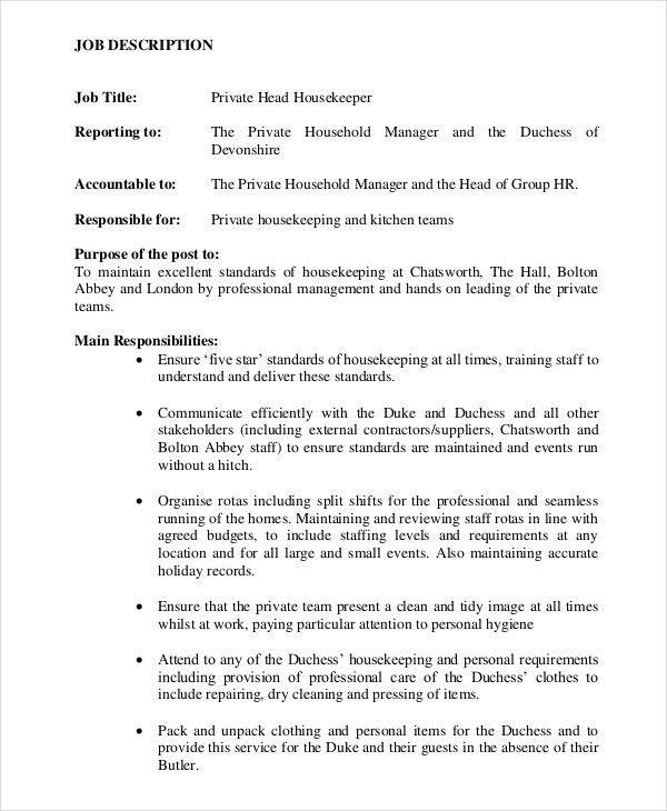 Housekeeper Job Description Example - 14+ Free Word, PDF Documents ...