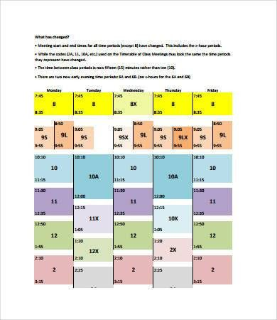 College Class Schedule Template - 6+ Free PDF Documents Download ...
