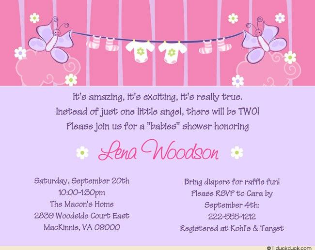 Baby Shower Invitation Wording For A Girl - Themesflip.Com