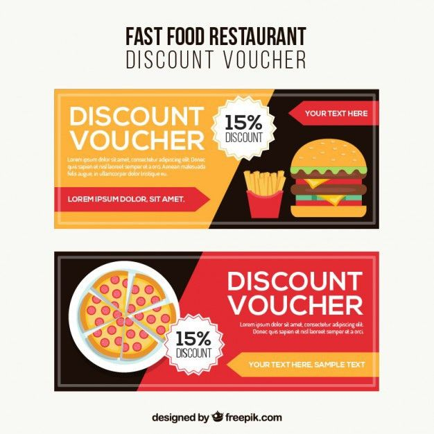 Fast food discount voucher Vector | Free Download