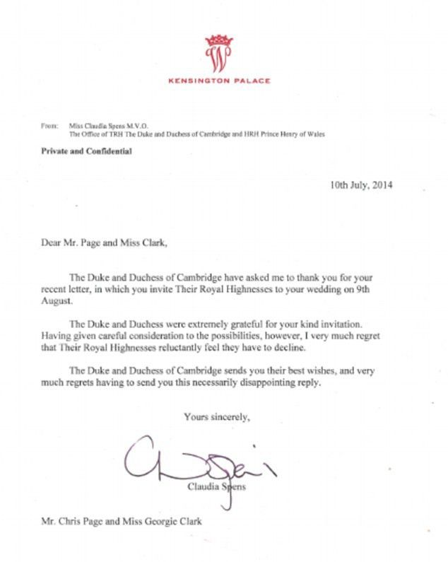 Royalist George Clark gets letter from Wills and Kate declining ...
