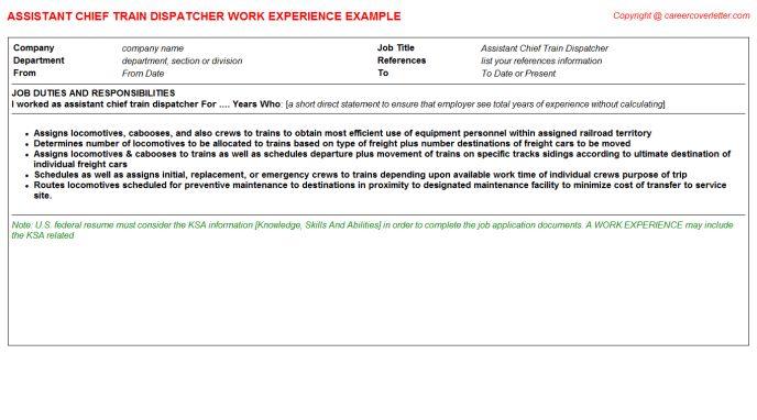 Assistant Chief Train Dispatcher Job Title Docs