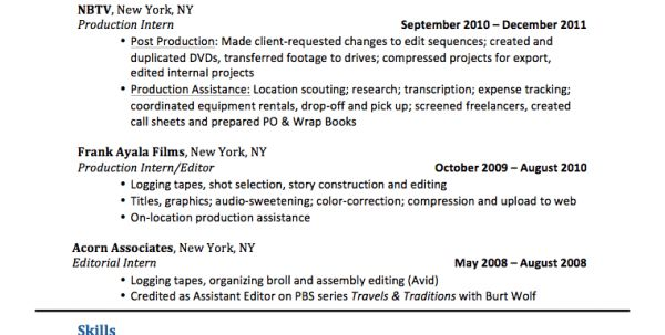 production editor resume bob sarles bioresume video resume