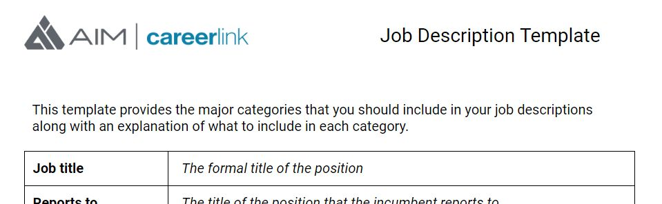 Set Your AIM » How to write a job description (template included)