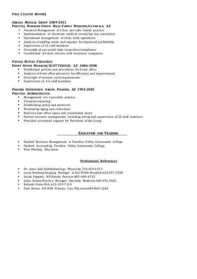 Medical practice office manager resume