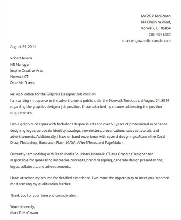 Graphic Designer Cover Letters - 8+ Free Word, PDF Format Download ...