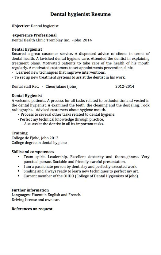 dental hygienist resume samples - RESUMEDOC