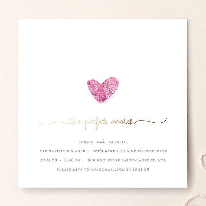 """Gold Foil Fingerprint Engagement Invite. """"Fingerprint Heart"""" foil ..."""