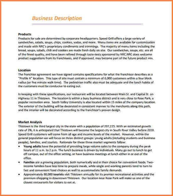 9+ restaurant business plan template | Registration Statement 2017