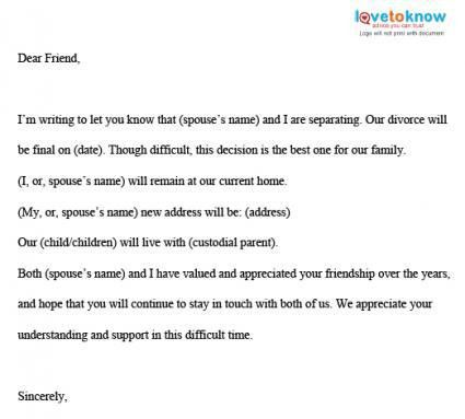 Divorce Letter Sample