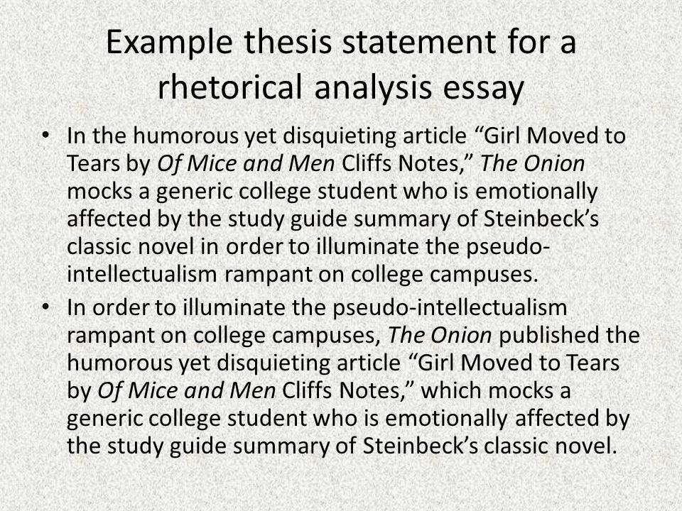 Rhetorical Analysis Thesis Statement - ppt video online download