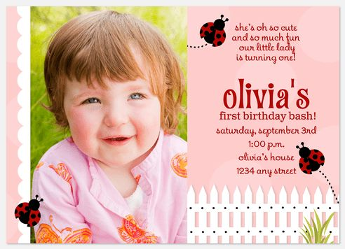 Ladybug Girl Birthday Invitations Ladybug Photo Birthday Invitations