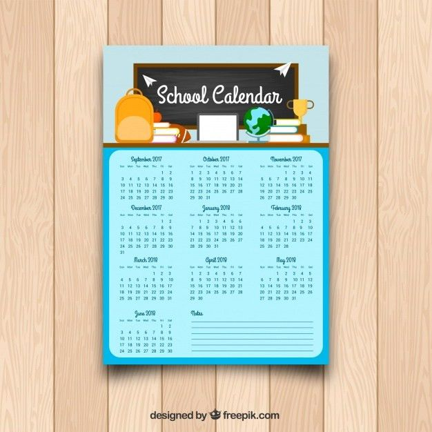 School calendar template in flat design Vector | Free Download