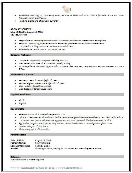 Download Standard Format Resume | haadyaooverbayresort.com