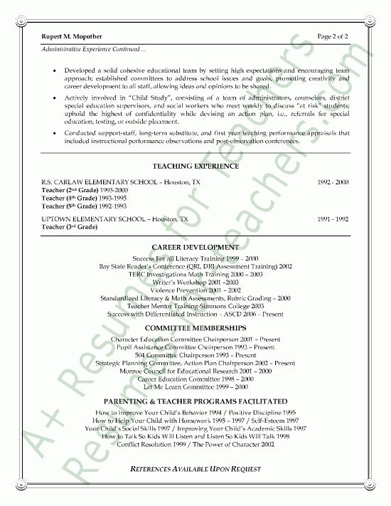 Vice Principal Resume Sample - Page 2