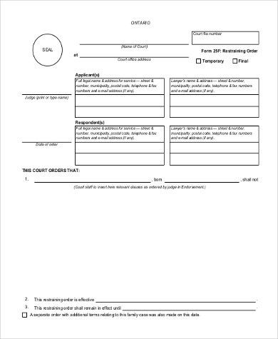 Sample Restraining Order Form - 7+ Free Documents in Examples ...