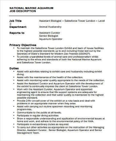 Sample Marine Biologist Job Description - 9+ Examples in Word, PDF