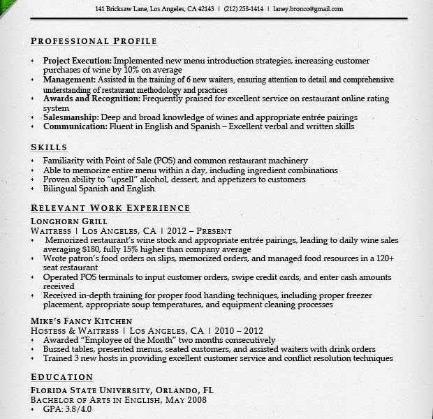 Resume Food Service Worker. service resume nrc. skills for server ...