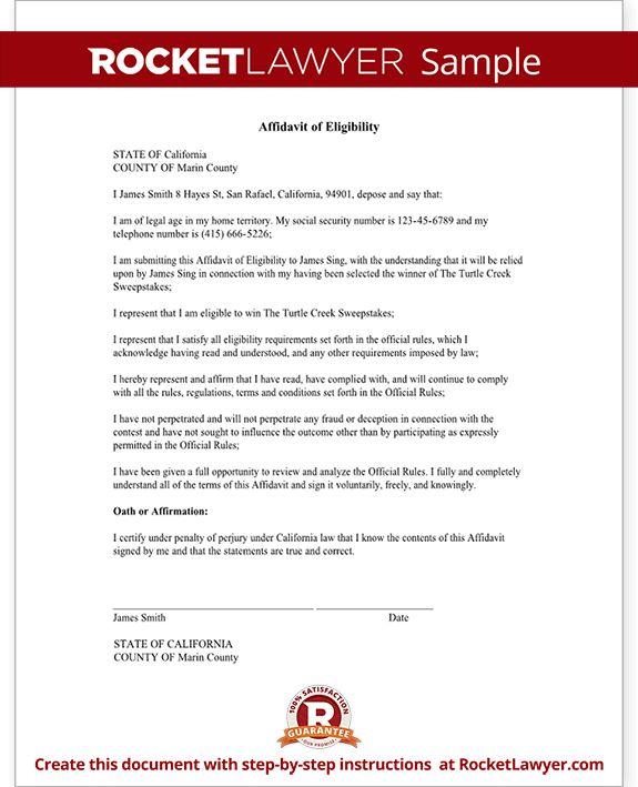 Affidavit of Eligibility Sweepstakes & Contests Form - Sample ...
