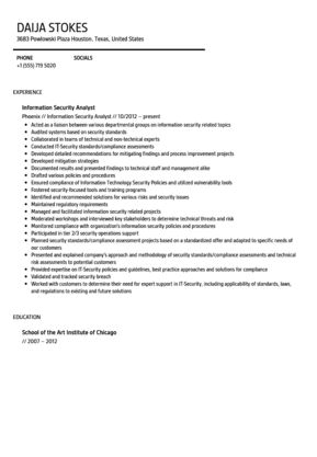 Information Security Analyst Resume Sample | Velvet Jobs