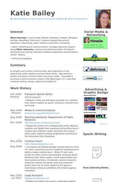 Sports Writer Resume samples - VisualCV resume samples database