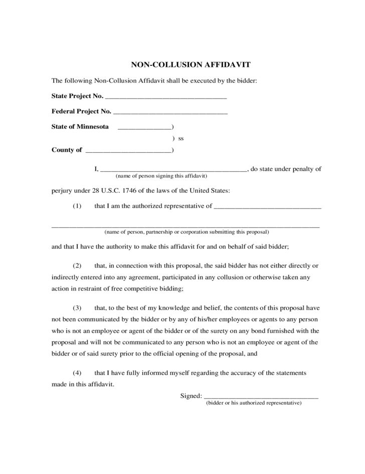 Non-Collusion Affidavit Form - Minnesota Free Download