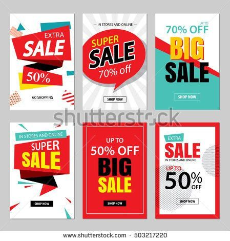 Set Social Media Sale Website Mobile Stock Vector 492825256 ...