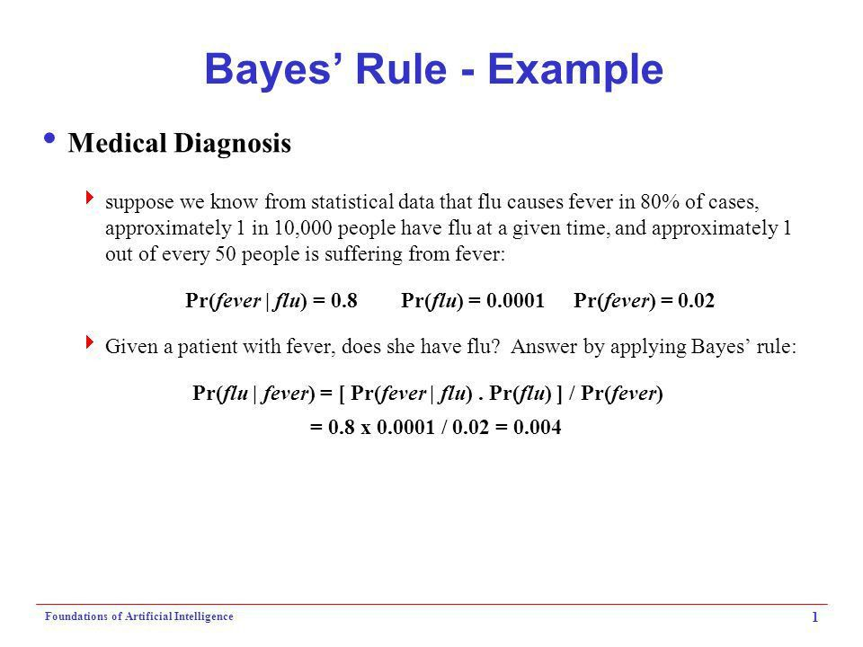 Foundations of Artificial Intelligence 1 Bayes' Rule - Example ...