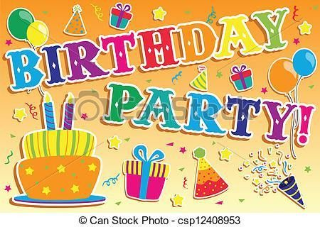 Clipart Vector of Birthday party invitation - A vector ...