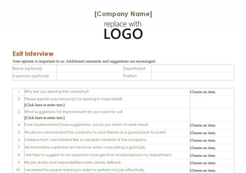 Employee Exit Interview Template | Employee Exit Interview Word