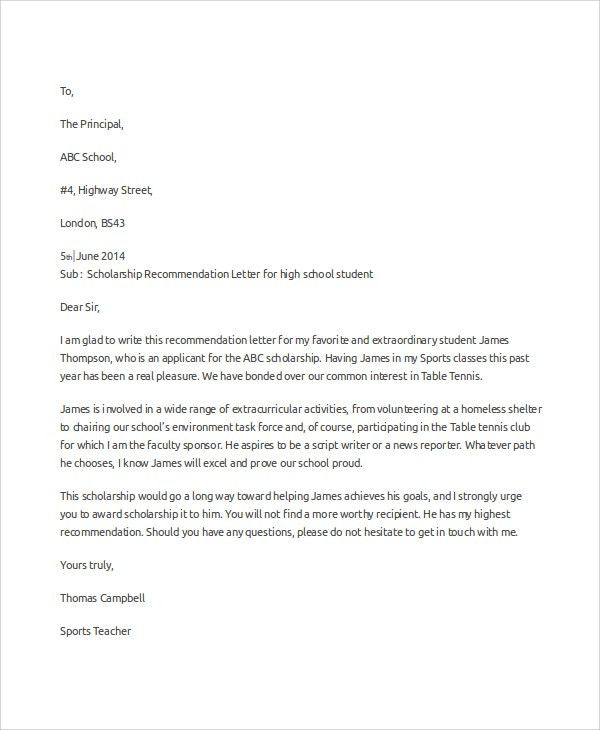 Sample Scholarship Recommendation Letter - 7+ Examples in Word, PDF