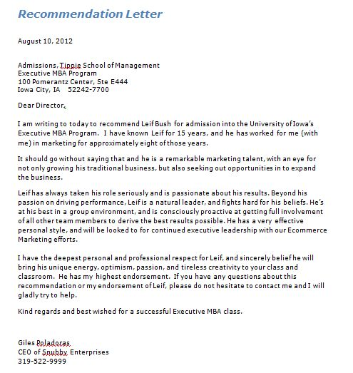 6 Recommendation Letters Templates | Free Sample Templates