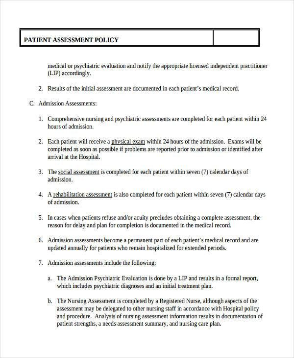 Sample Health Assessment Template. Mental Health Assessment ...