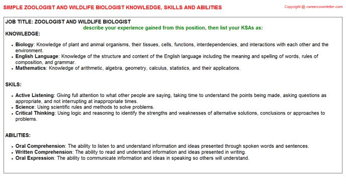 Zoologist And Wildlife Biologist Knowledge & Skills