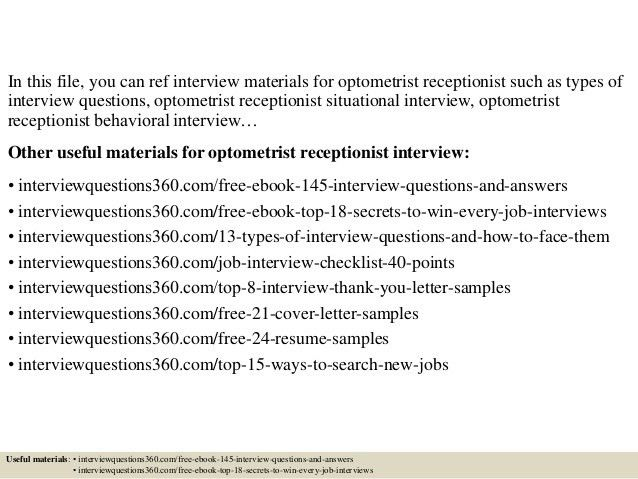 Top 10 optometrist receptionist interview questions and answers