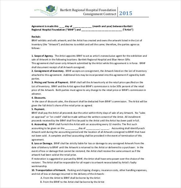 9+ Consignment Agreement Templates – Free Sample, Example, Format ...
