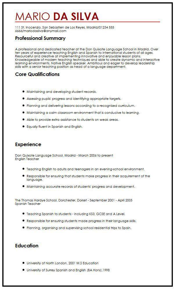 European CV Sample | MyperfectCV