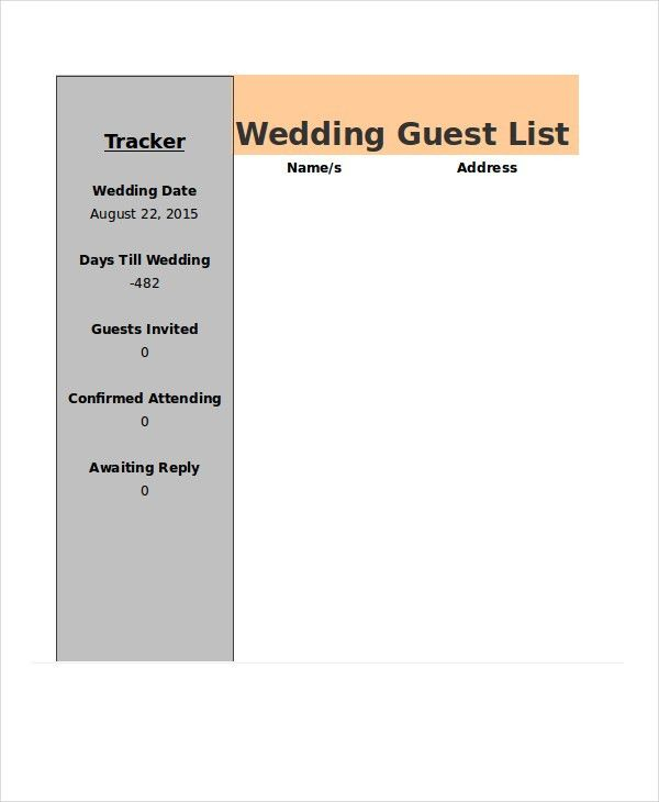 Wedding Guest List Template - 9+ Free Word, Excel, PDF Documents ...