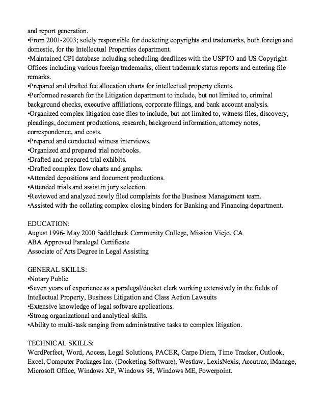corporate paralegal resume