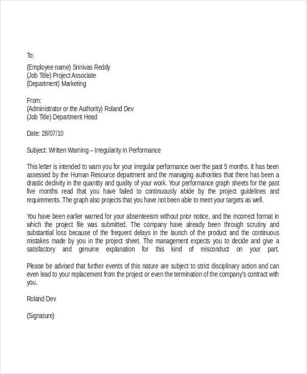 Professional Warning Letter Template - 5+ Free Word, PDF Documents ...
