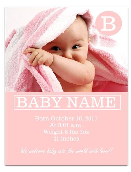 WordDraw.com - Free Baby Announcement Template for Microsoft Word ...