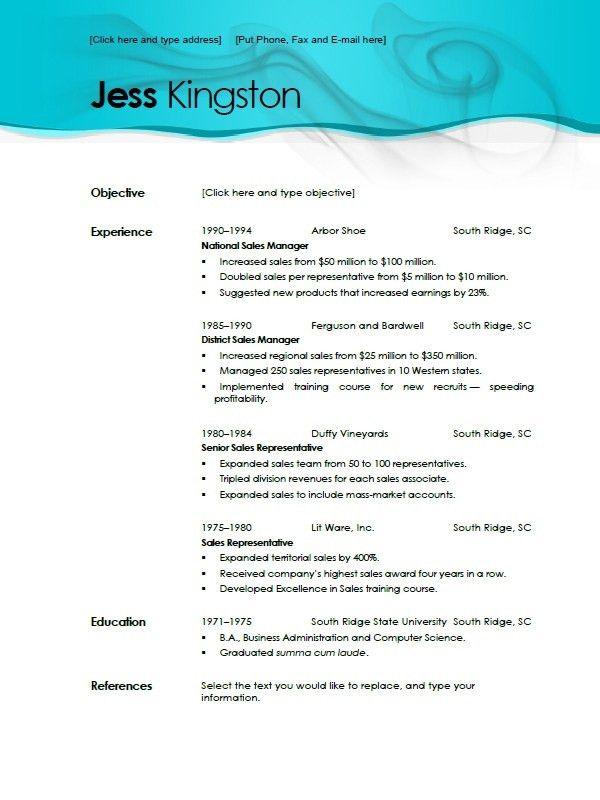 Microsoft Office Resume Templates 2010. Free Resume Templates ...
