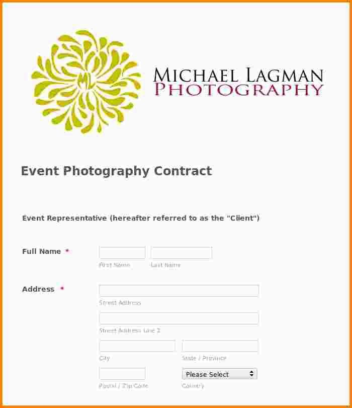 Event Photography Contract Template - Contegri.com