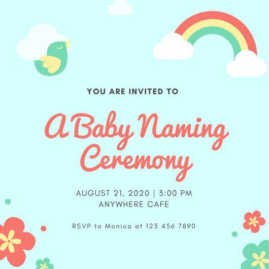 Blue Baby Naming Ceremony Invitation - Templates by Canva