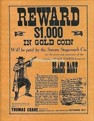 Black Bart $1,000 Reward Wanted Poster 1877 – store.ushistory.org
